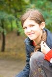 Lovely teen girl outdoor Royalty Free Stock Photos
