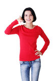 Lovely teen woman gesturing Stock Image