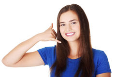 Lovely teen woman gesturing Royalty Free Stock Photography