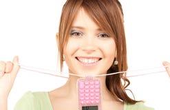 Lovely teenage girl with calculator Stock Image