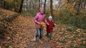 Joyful children running through autumn woodland. Lovely teenage girl in eyeglasses carrying yellow maple leaves and her cute toddler brother running through stock footage