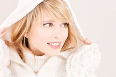 Lovely teenage girl in hoodie Stock Photo