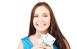 Lovely teenage girl with money Stock Photos
