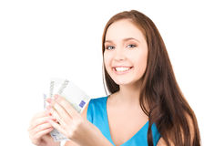 Lovely teenage girl with money Royalty Free Stock Photos