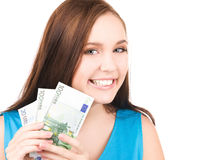 Lovely teenage girl with money Royalty Free Stock Images