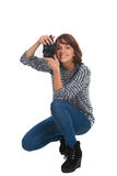 Lovely teenage girl with photo camera Stock Photo