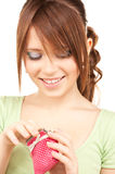 Lovely teenage girl with purse Royalty Free Stock Images