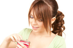 Lovely teenage girl with purse Stock Photography