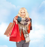 Lovely teenage girl with shopping bags Royalty Free Stock Images