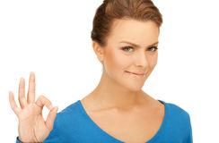Lovely teenage girl showing ok sign. Bright picture of lovely teenage girl showing ok sign Stock Images