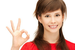 Lovely teenage girl showing ok sign Stock Photography