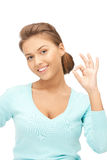 Lovely teenage girl showing ok sign Royalty Free Stock Photography