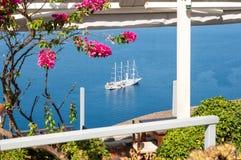 Lovely terrace in Oia, Santorini Royalty Free Stock Photos