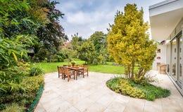 Lovely terrace outside luxury house stock images