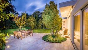 Lovely terrace outside luxury house royalty free stock photo