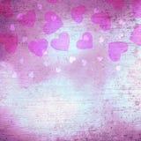 Lovely textured shiny purple heart shapes background Stock Image