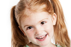 Lovely Three Year Old Girl. Portrait of laughing little girl. Studio portrait isoltaed on white background Stock Photos