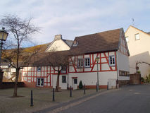 Lovely Timbered House in Germany. Old Half-Timbered House in a Small Village in Germany Stock Images