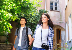 Lovely tourist couple exploring the city Stock Photography