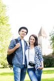 Lovely tourist couple exploring the city Stock Images