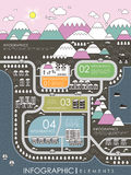 Lovely town scenery infographic template Stock Images