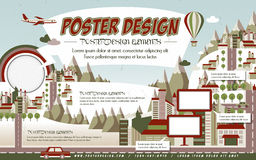 Lovely town scenery poster template design Royalty Free Stock Images