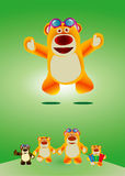 Lovely toy bear. Funny cute toy bear jumping in joy with four variations displaying different poses of the bear Stock Image