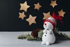 A christmas still life picture with golden stars on a background Stock Photos