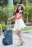 Lovely travel girl prepare to go the airport Stock Images