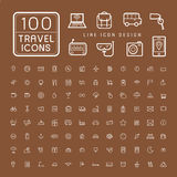 Lovely 100 travel icons set Royalty Free Stock Photography