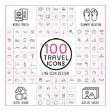 Lovely 100 travel icons set Stock Photo