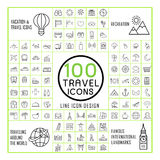 Lovely 100 travel icons set Royalty Free Stock Photos