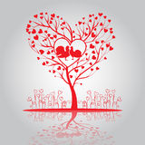 Lovely tree with doves and flowers. Lovely tree of hearts with doves and flowers Royalty Free Stock Images