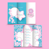 Lovely tri-fold brochure design. With pink floral elements Stock Photo