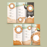 Lovely tri-fold brochure design. With plant and bird elements Royalty Free Stock Photo