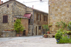 Lovely tuscan street in Pienza Stock Images