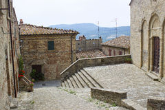 Lovely tuscan street - Radda in Chianti. Tuscany royalty free stock photo