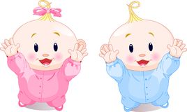 Lovely twins. Vector illustration of lovely twins with hands up Royalty Free Stock Photography