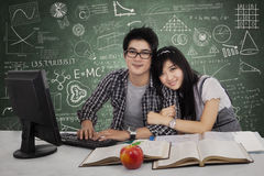 Lovely two students in class Stock Image
