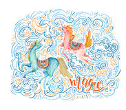 Lovely unicorn in cartoon style. Magic, lettering. Watercolor pair of flying unicorns surrounded by doodle cloud, star, moon, wave, dots, dash on night Royalty Free Stock Photo
