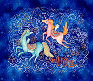 Lovely unicorn in cartoon style. Magic, lettering. Watercolor pair of flying unicorns surrounded by doodle cloud, star, moon, wave, dots, dash on night Stock Photography