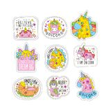 Lovely unicorn patches set, trendy colorful unicorn stickers in different actions vector Illustrations on a white Stock Photos
