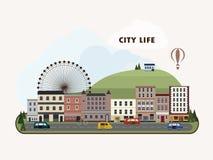 Lovely urban landscape in flat design Stock Photos