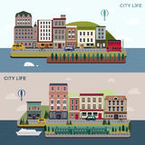 Lovely urban landscape in flat design Royalty Free Stock Photography