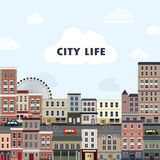 Lovely urban landscape in flat design. Lovely urban landscape with railway in flat design style Royalty Free Stock Photos