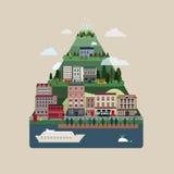 Lovely urban landscape in flat design Stock Image