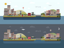 Lovely urban landscape in flat design Stock Images