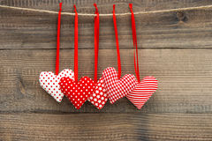 Lovely Valentines Day Decoration Red Hearts Stock Images