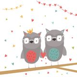Lovely Valentines day gift card with heart and couple of owls stock illustration