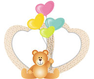 Lovely Valentines Frame with Teddy Bear and Balloons Shaped as H Stock Photo